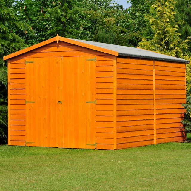 12 x 8 (3.59m x 2.39m) Shire Overlap Apex Garden Shed - No Windows - doors closed