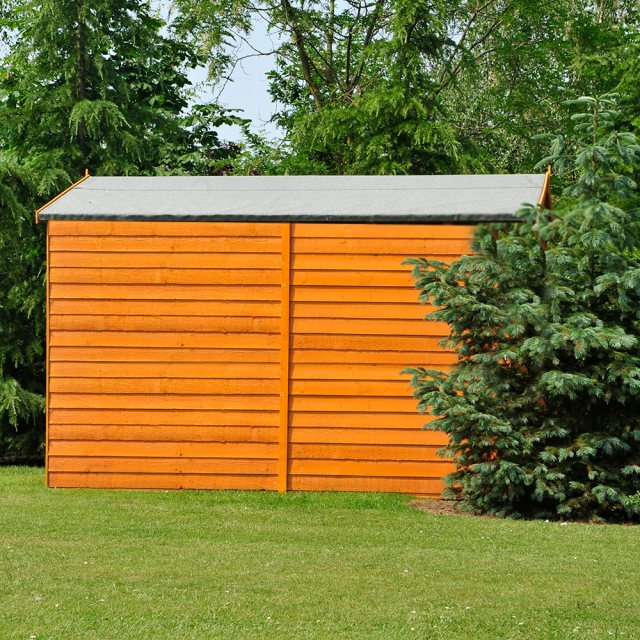12 x 8 (3.59m x 2.39m) Shire Overlap Apex Garden Shed - No Windows - side elevation