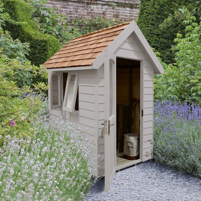 6 x 4  Forest Retreat Redwood Lap Pressure Treated Shed - Pebble Grey
