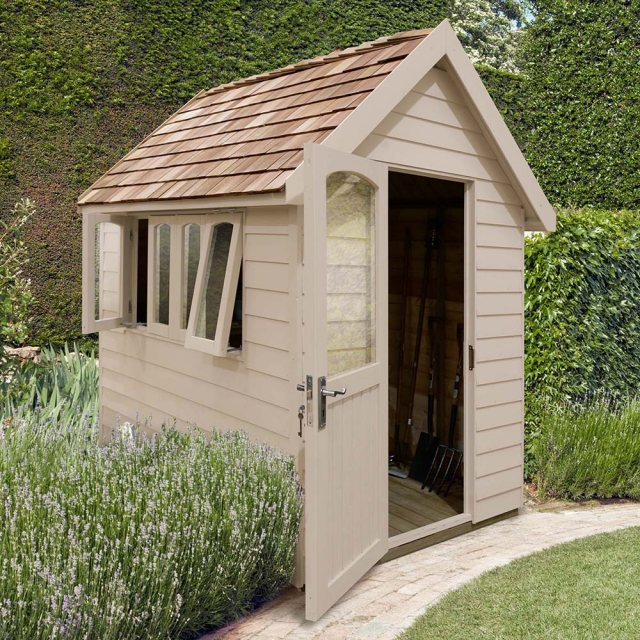 8 x 5 Forest Retreat Pressure Treated Redwood Lap Shed in Natural Cream