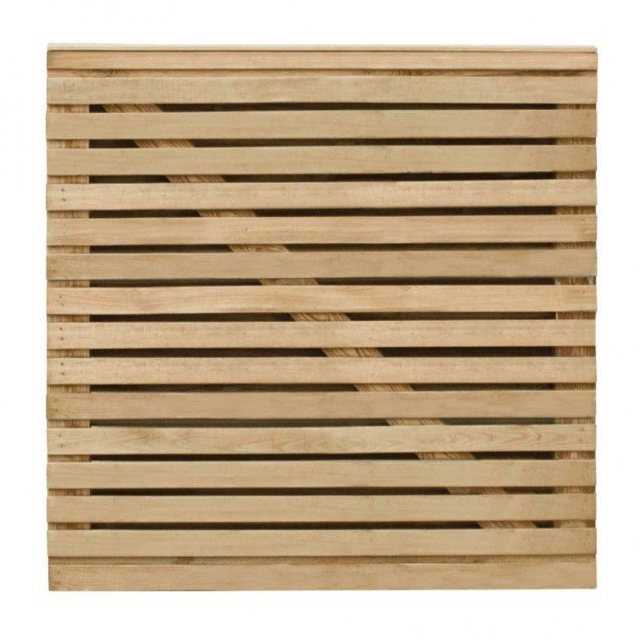 3ft High Forest Contemporary Double-Sided Slatted Gate - Pressure Treated