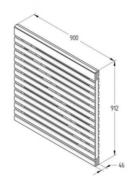 3ft High Forest Contemporary Double-Sided Slatted Gate - Dimensions