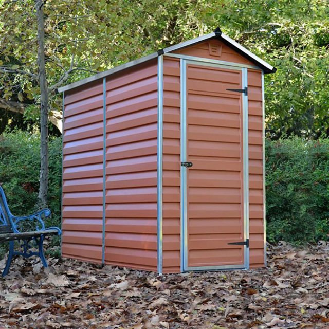 4 x 6 Palram Skylight Plastic Apex Shed - Amber -  with background and door closed