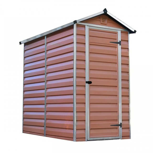 4 x 6 Palram Skylight Plastic Apex Shed - Amber -  white background with door closed