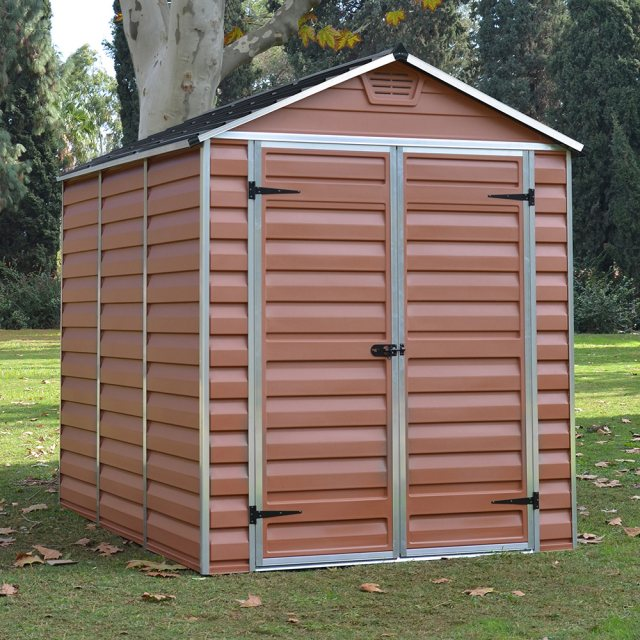 6x8 Palram Skylight Plastic Apex Shed - Amber- with background and doors closed