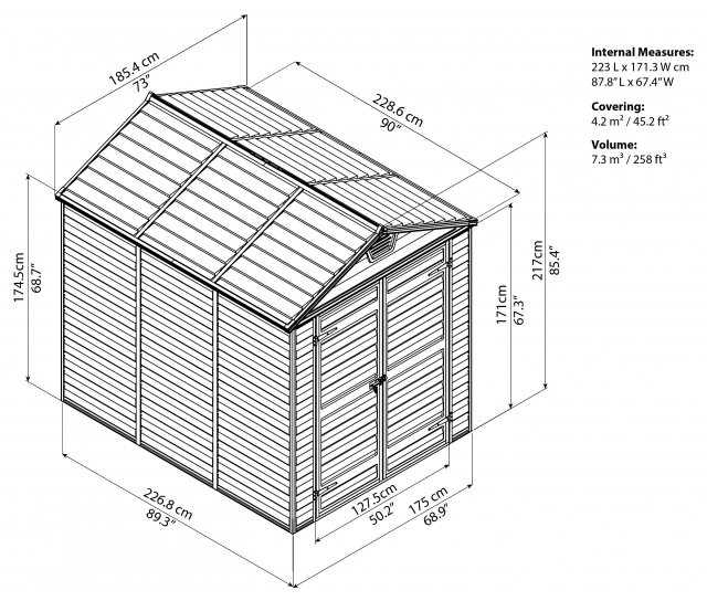 6x8 Palram Skylight Plastic Apex Shed - Amber- schematic drawing