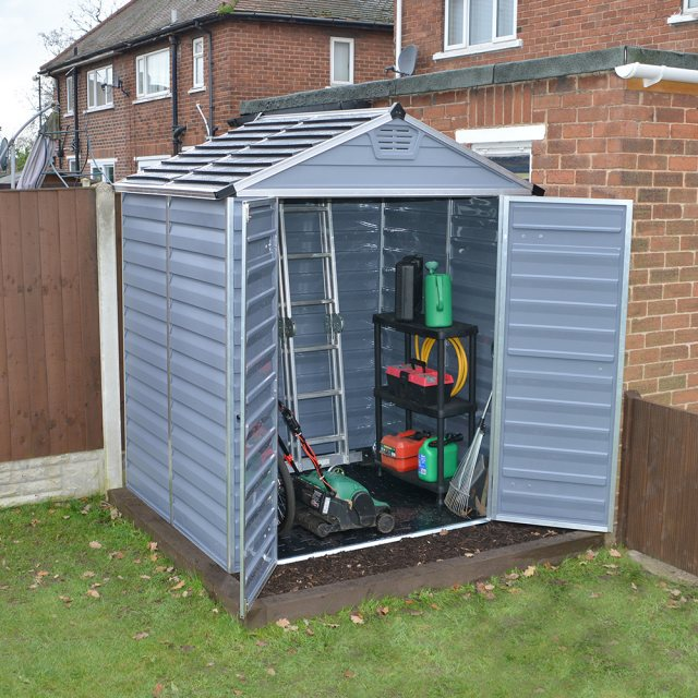 6x5 Palram Skylight Plastic Apex Shed - Dark Grey - with background and doors open