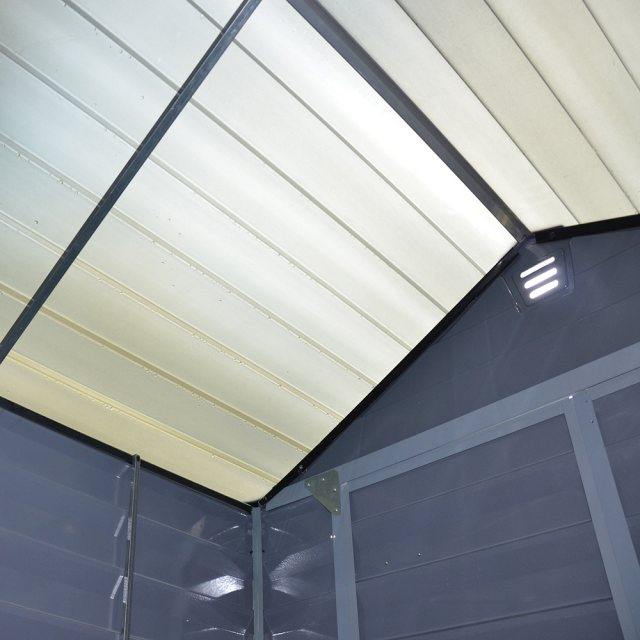 6x5 Palram Skylight Plastic Apex Shed - Dark Grey - skylights