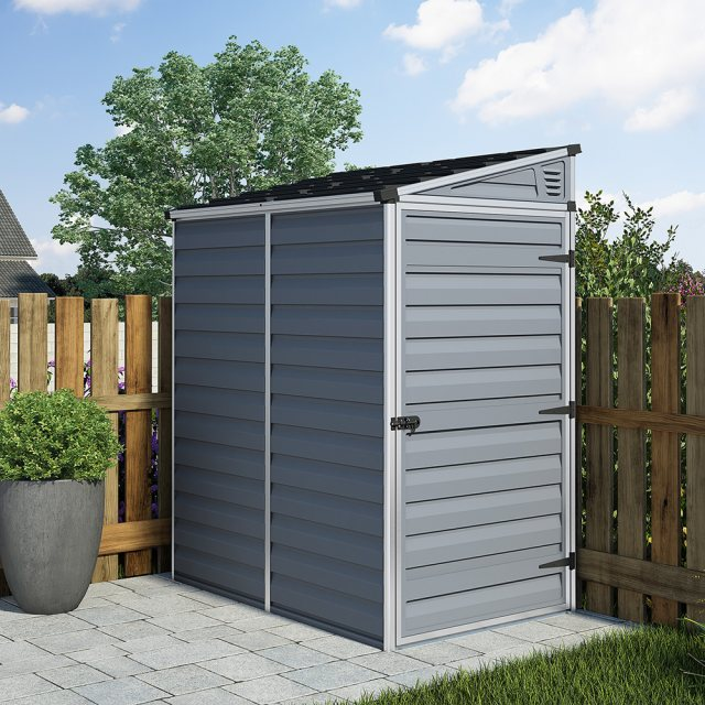 4x6 Palram Skylight Plastic Pent Shed - Dark Grey - with background
