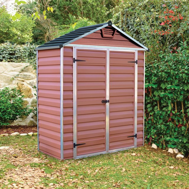 6x3 Palram Skylight Plastic Apex Shed - Amber - with background and door closed
