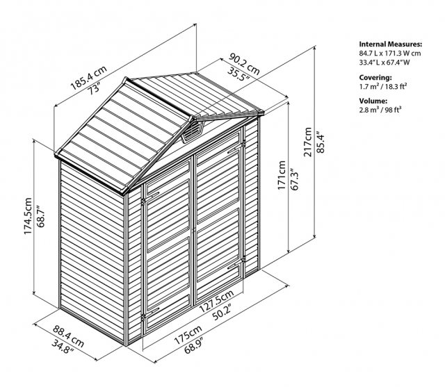 6x3 Palram Skylight Plastic Apex Shed - Amber - schematic drawing
