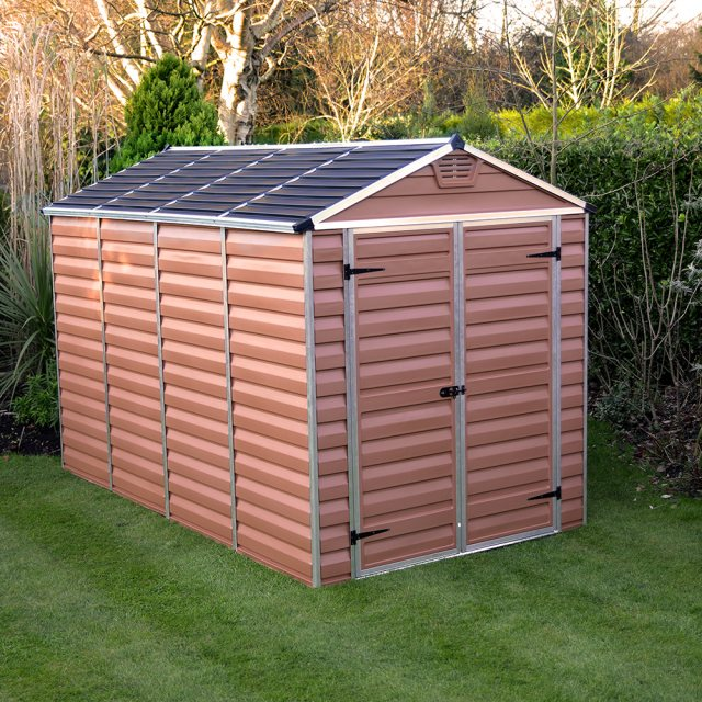 6x10 Palram Skylight Plastic Apex Shed - Amber - with background
