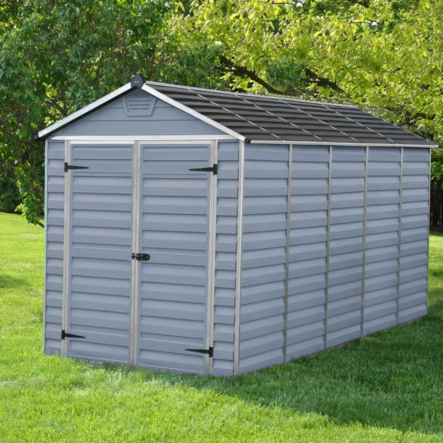 6x12 Palram Skylight Plastic Apex Shed - Grey