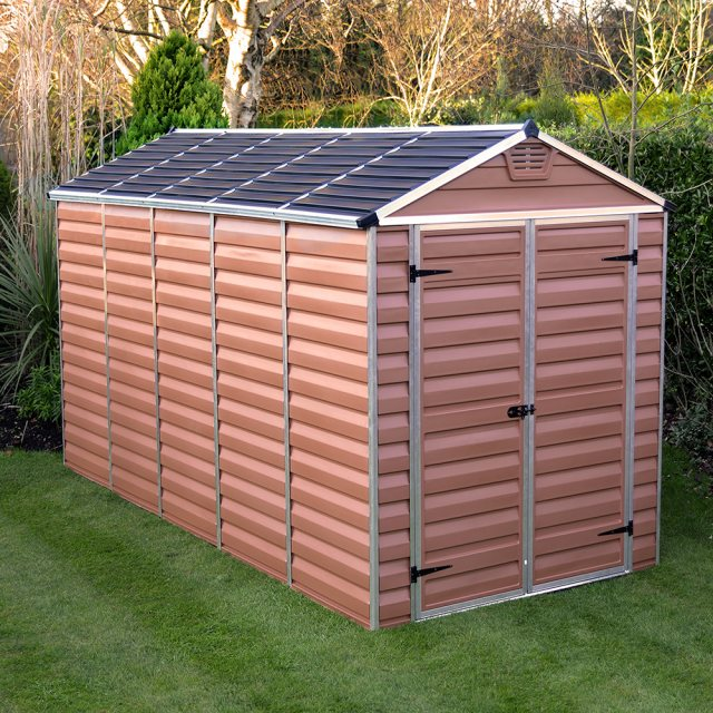 6x12 Palram Skylight Plastic Apex Shed - Amber - with background