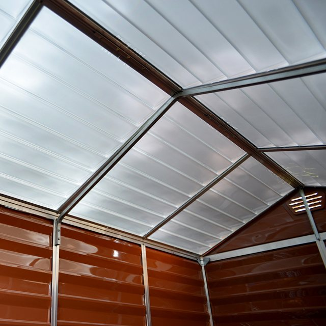 6x12 Palram Skylight Plastic Apex Shed - Amber - skylights