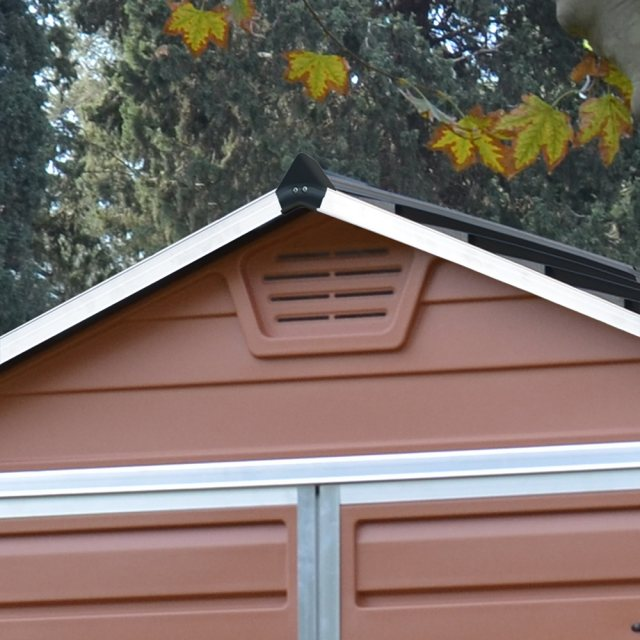 6x12 Palram Skylight Plastic Apex Shed - Amber - gable ventilation