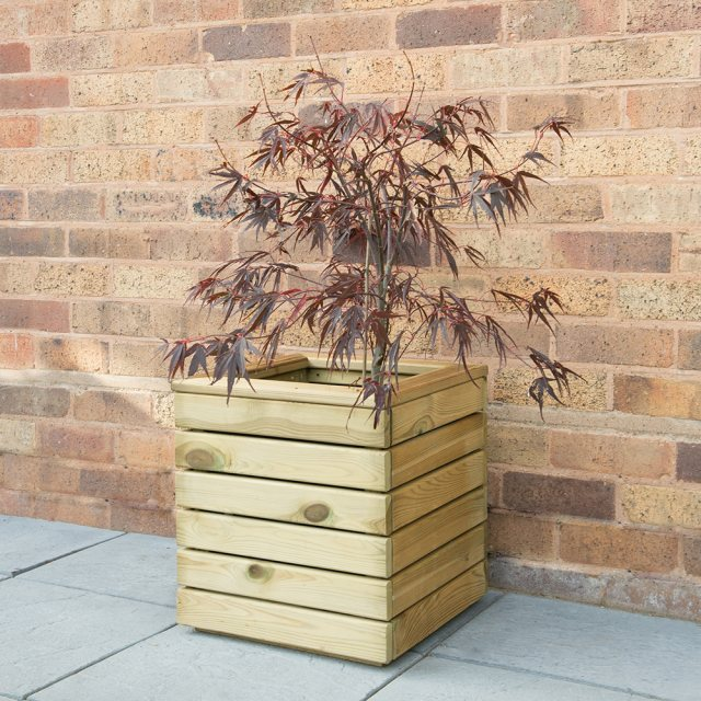Forest Linear Planter - Square - Pressure Treated - 1ft 3inch - displaying red shrub