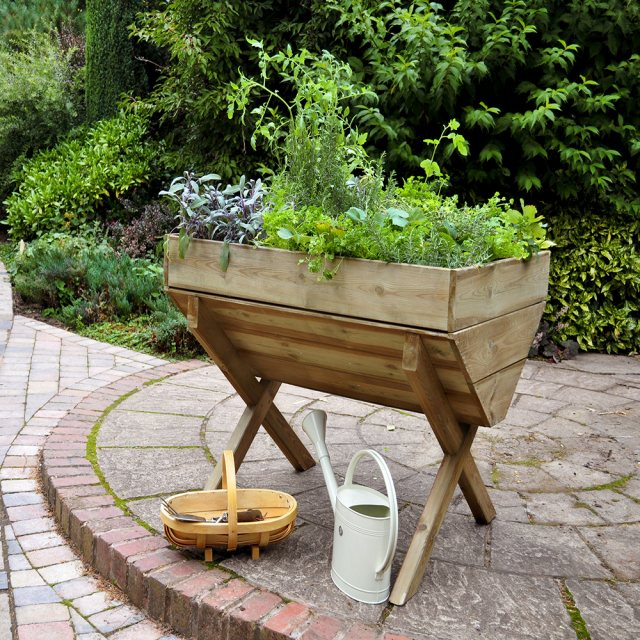 Forest Kitchen Garden Trough - Pressure Treated -  3ft 3inch - with background