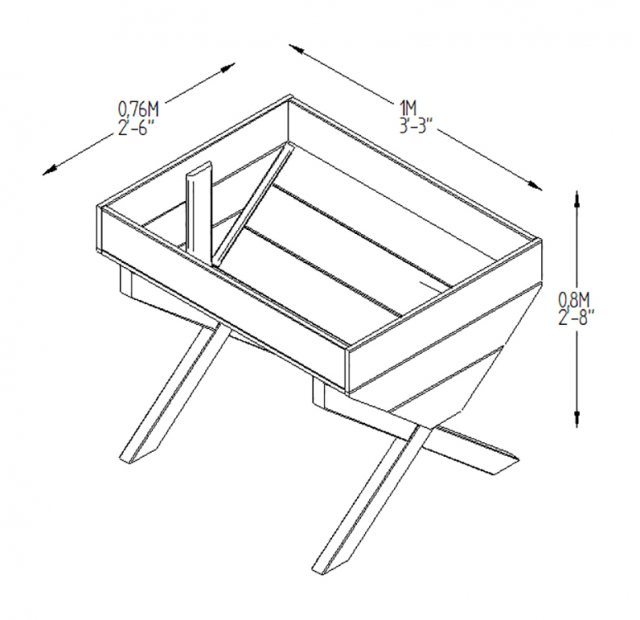 Forest Kitchen Garden Trough - Pressure Treated -  3ft 3inch - diagram