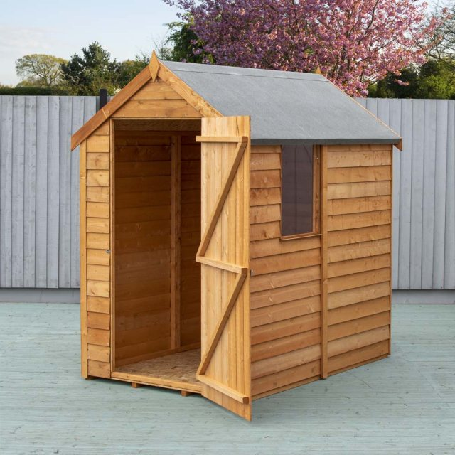 6 x 4 Shire Value Overlap Shed with Window - angled view