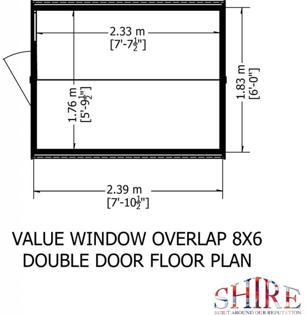 8 x 6 Shire Value Overlap Shed - Floor Plan