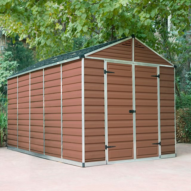 8x12 Palram Skylight Plastic Apex Shed - Amber - with background and door closed