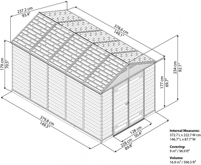 8x12 Palram Skylight Plastic Apex Shed - Amber - schematic drawing