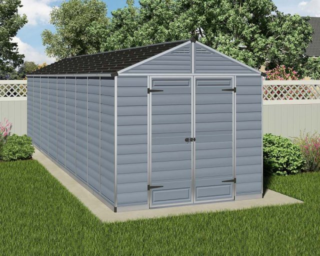8x20 Palram Skylight Plastic Apex Shed - Dark Grey
