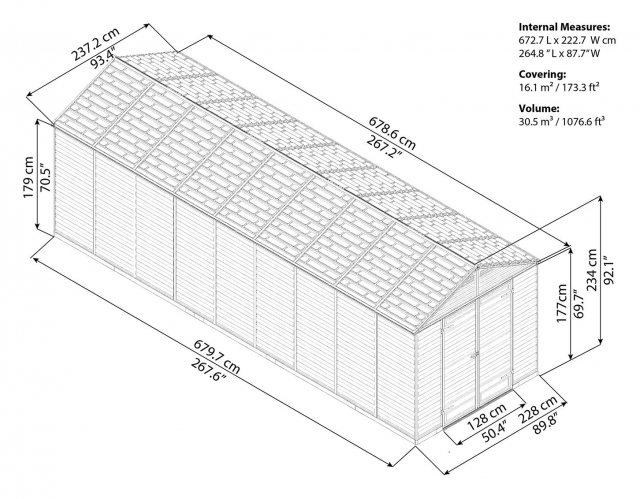 8x20 Palram Skylight Plastic Apex Shed - Dark Grey - schematic drawing