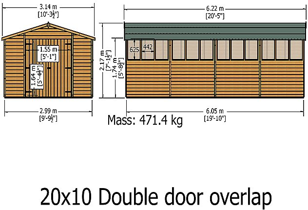 Shire 20 x 10 Overlap Workshop Shed - Windowless - dimensions (windows shown not included)