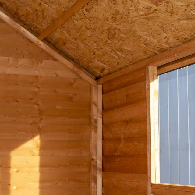 8 x 6 Shire Value Overlap Shed - Framework and roof interior close up