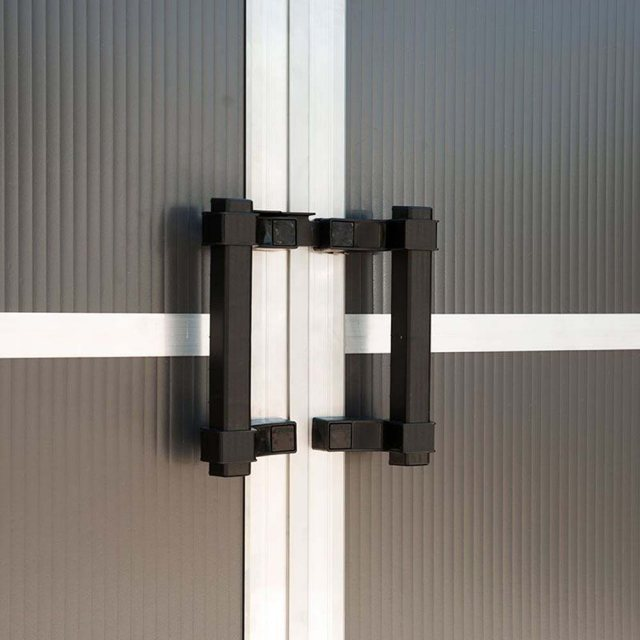 11 x 13 Palram Yukon Plastic Apex Shed - Dark Grey - door handles