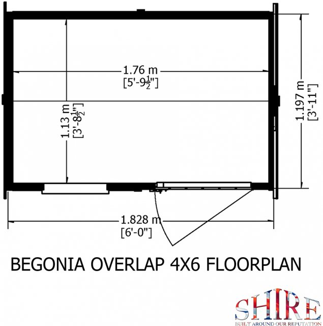 4x6 Shire Overlap Reverse Apex Shed -  floor plan
