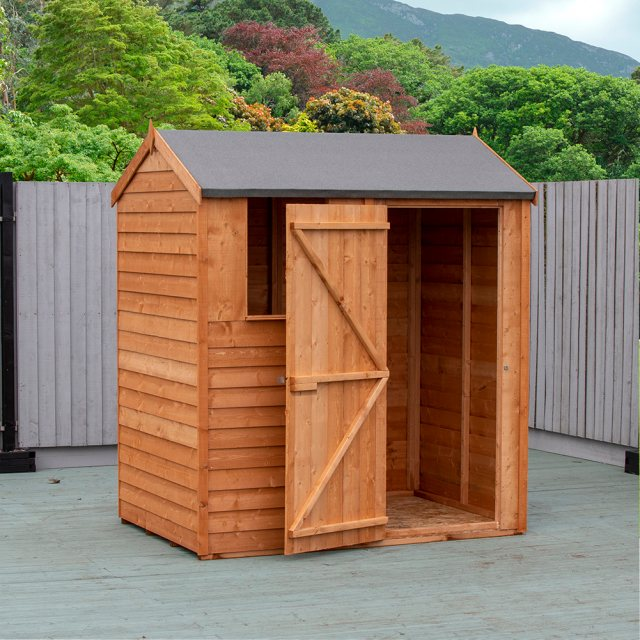4x6 Shire Overlap Reverse Apex Shed - with door open on the right hand side