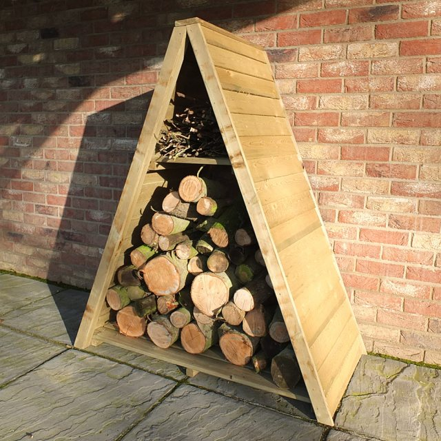 4x2 Shire Large Triangular Log Store - Pressure Treated - with logs insitu