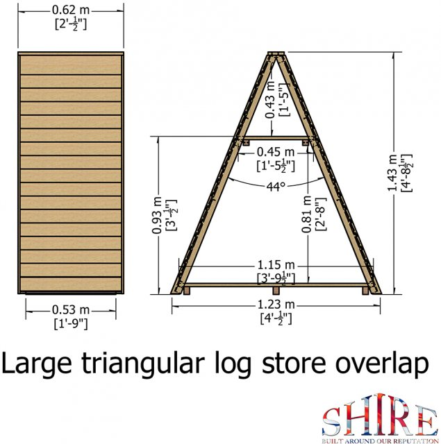 4x2 Shire Large Triangular Log Store - Pressure Treated - diagram