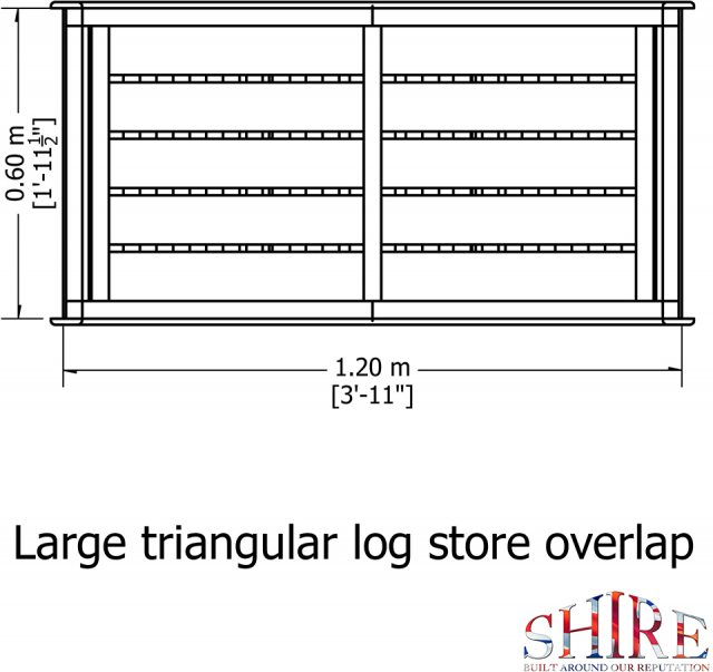 4x2 Shire Large Triangular Log Store - Pressure Treated - diagram side elevation