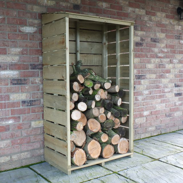 3x1.5 Shire Tall Wall Log Store - Pressure Treated - angled background with logs