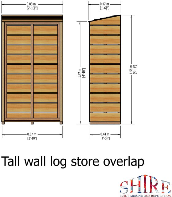 3x1.5 Shire Tall Wall Log Store - Pressure Treated - diagram