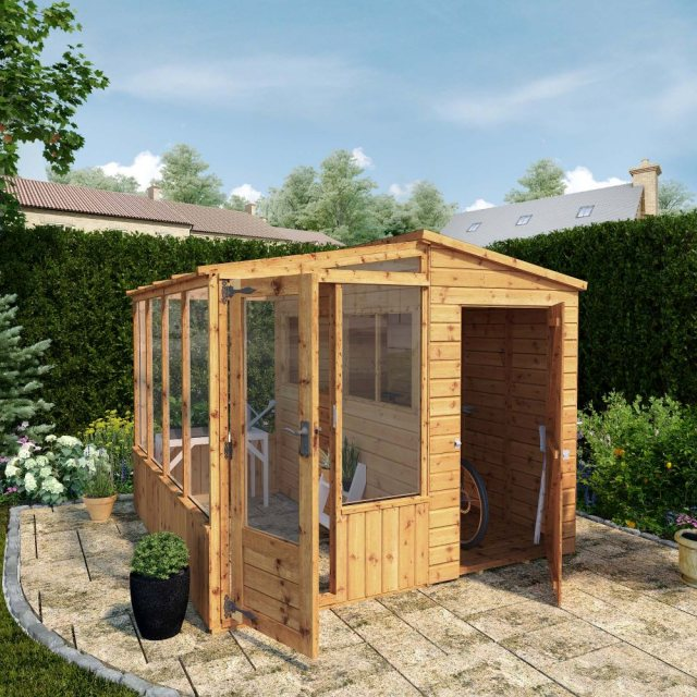 8 x 8 Mercia Premium Greenhouse and Shed Combi - in situ