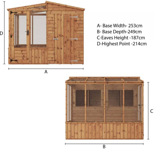 8 x 8 Mercia Premium Greenhouse and Shed Combi - dimensions diagram