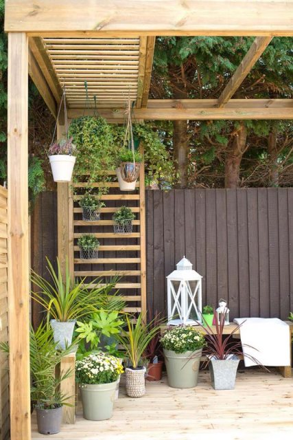 Forest Dining Pergola - Pressure Treated - decorated with plants and features