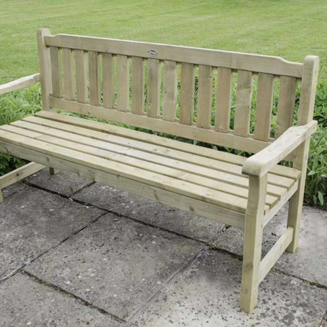 Forest Rosedene 5ft Bench - Pressure Treated - on paved area - cropped