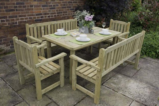 Forest Rosedene 5ft Bench - Pressure Treated - dressed for dinner with matching table and chairs
