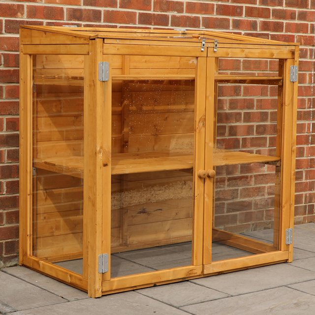 4 x 2 Mercia Mini Greenhouse - empty with doors and lid closed