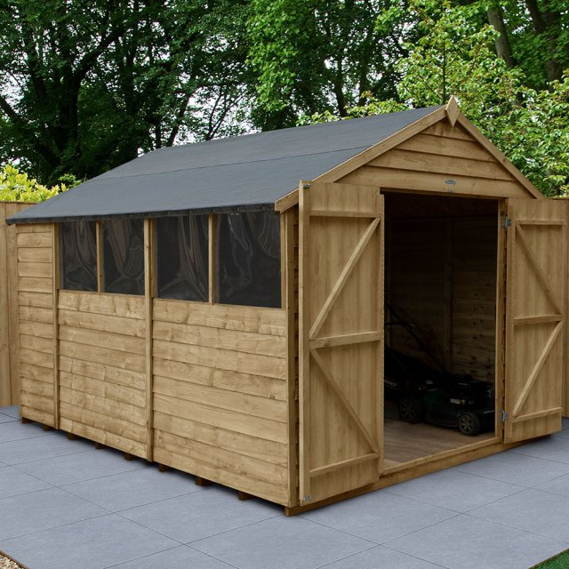 10x8 Forest Overlap Apex Shed - Pressure Treated - angled shed with door open