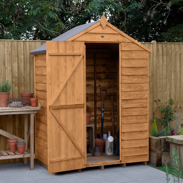 5 x 3 Forest Overlap Shed - Windowless - angled shed with door open