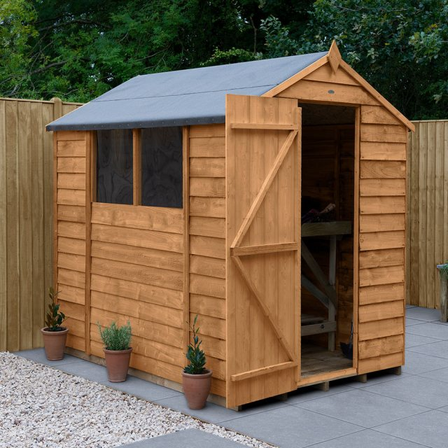 7x5 Forest Overlap Apex Garden Shed - angled shed with door open