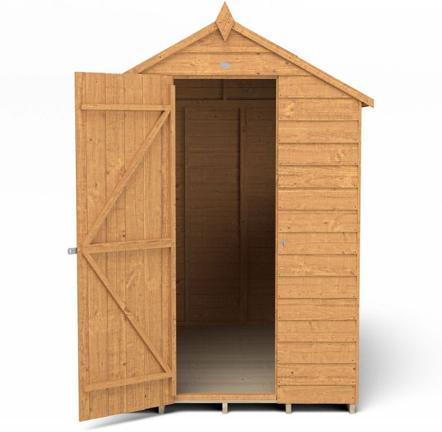 7x5 Forest Overlap Apex Garden Shed -  isolated with door located on the left hand side