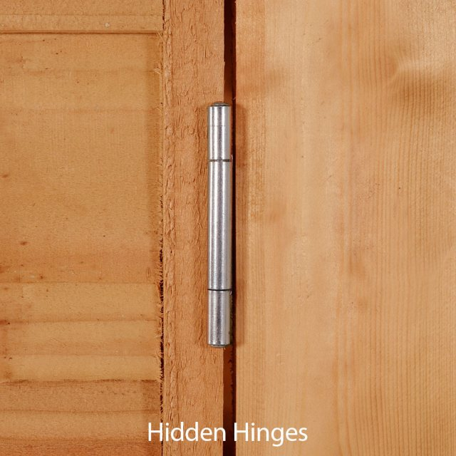 7x5 Forest Overlap Apex Garden Shed - hidden door hinges
